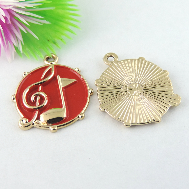 (18Pieces)Man Punk Jewelry Findings Accessories Charms musical note Enamel Alloy Necklaces Pendants Red Round Top Charms Diy