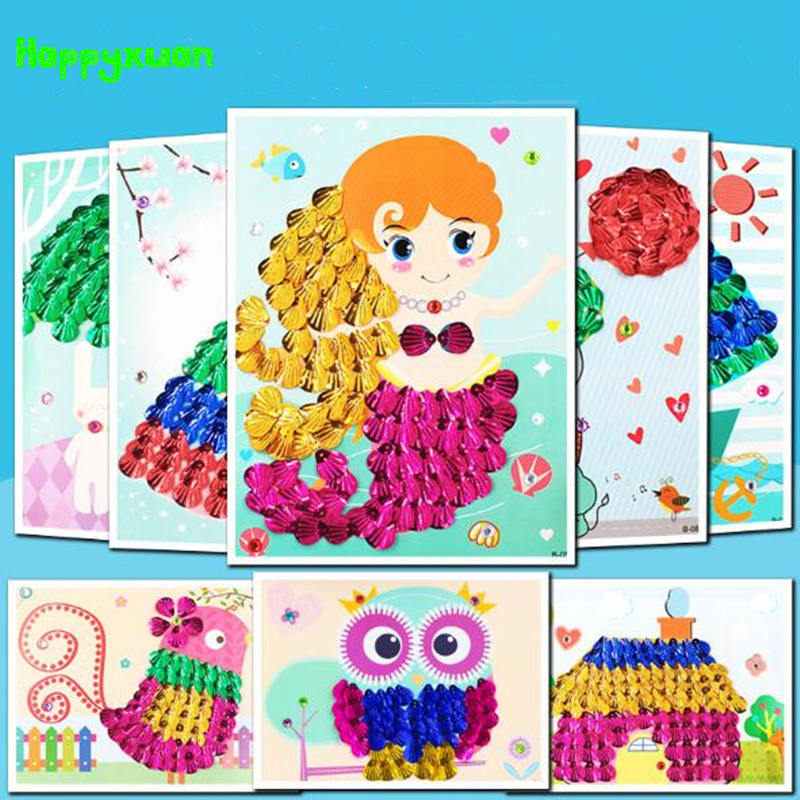 Happyxuan 3pcs/ lot Diy Shell Painting Kids Handmade Crafts Material Home Decoration Children Creative 3D Stickers Toy Series B
