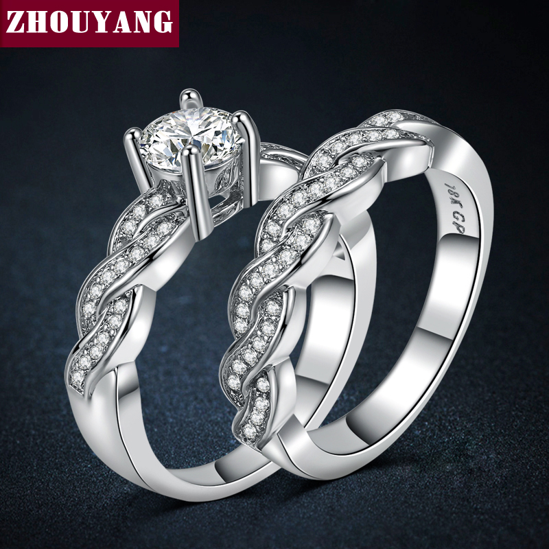 Luxury 2 Rings Sets Silver Color Bijoux Fashion Wedding Party Jewelry Cubic Zirconia Jewelry For Women Chirstmas ZYR557
