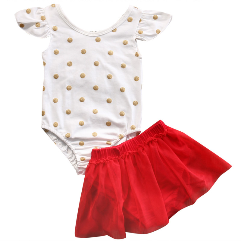 0-24M Newborn Infant Baby Girls Polka Dot Cotton Bodysuit Jumpsuit Playsuit +Tutu Skirt Dress 2pcs Outfits Summer Clothes Set