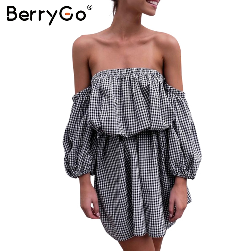 Berrygo kapalı omuz plaid yaz dress kadınlar gevşek fener kollu backless streetwear mini dress 2017 yeni rahat robe femme