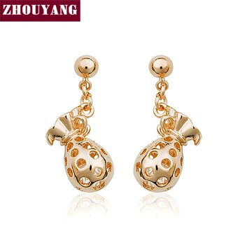 Top Quality ZYE287 Gold Pocket Rose Gold Color Stud Earrings Jewelry Austrian Crystal Wholesale