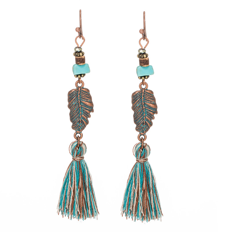 Bohemian Drop Earrings Antique Ethnic Tassel Long Dangling Pendant Earring Imitation Jewelry For Women Girls Anniversary Wedding